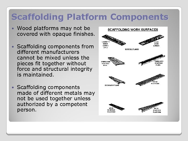 Scaffolding Platform Components Wood platforms may not be covered with opaque finishes. Scaffolding components
