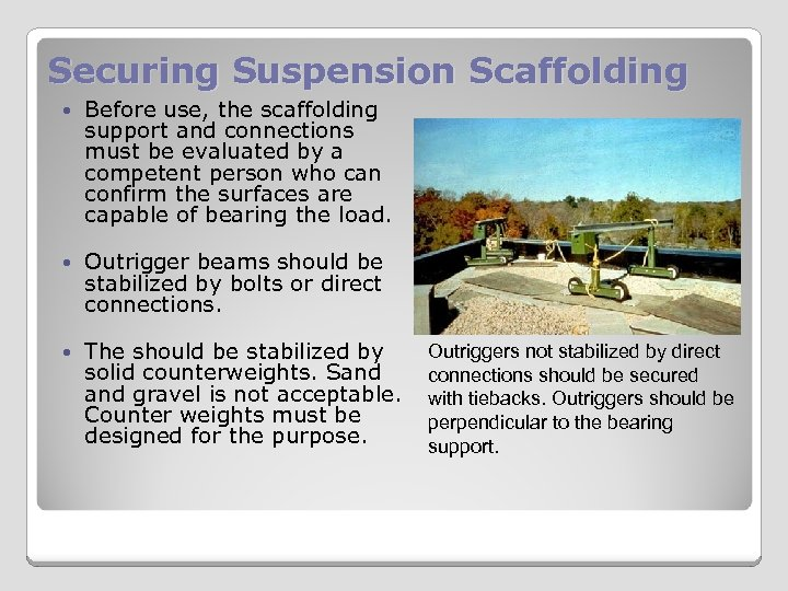 Securing Suspension Scaffolding Before use, the scaffolding support and connections must be evaluated by
