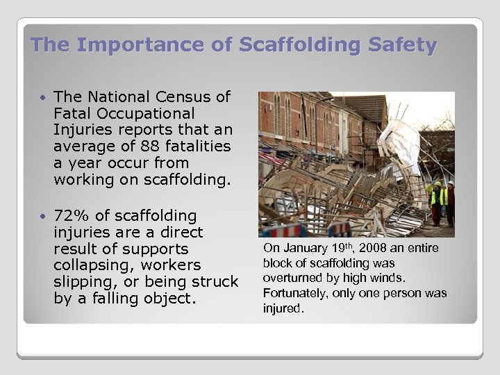 The Importance of Scaffolding Safety The National Census of Fatal Occupational Injuries reports that