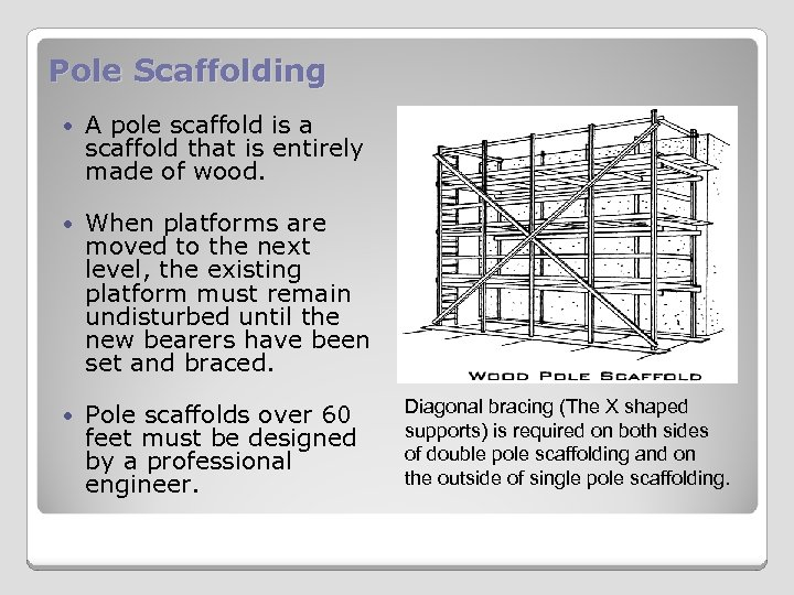 Pole Scaffolding A pole scaffold is a scaffold that is entirely made of wood.