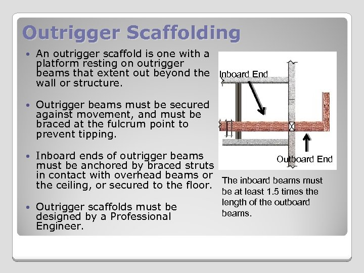 Outrigger Scaffolding An outrigger scaffold is one with a platform resting on outrigger beams