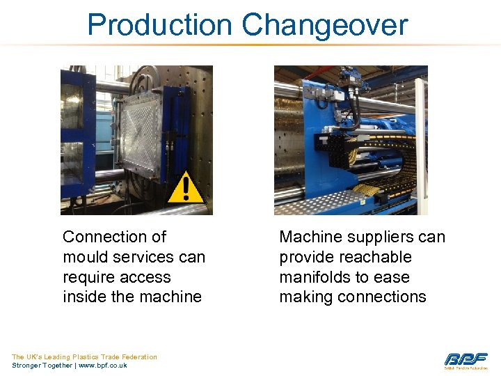 Production Changeover Connection of mould services can require access inside the machine The UK's