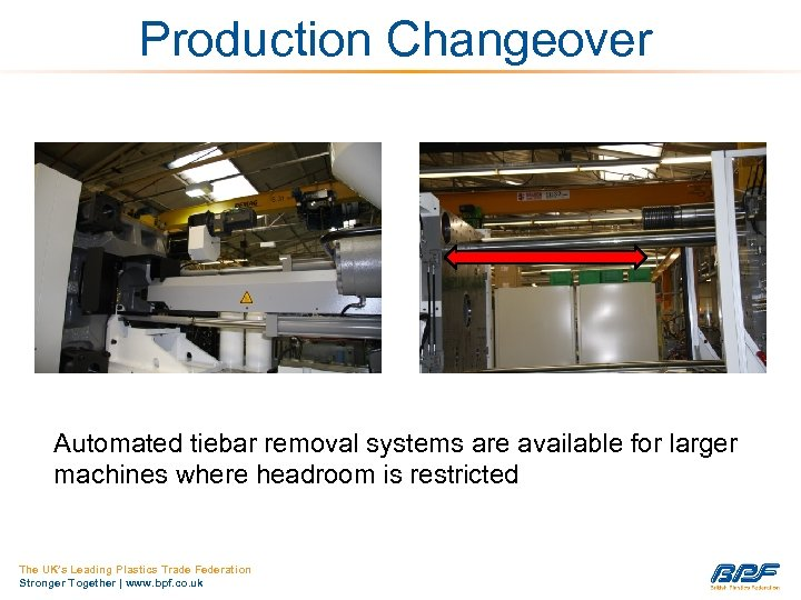 Production Changeover Automated tiebar removal systems are available for larger machines where headroom is