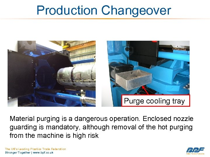 Production Changeover Purge cooling tray Material purging is a dangerous operation. Enclosed nozzle guarding