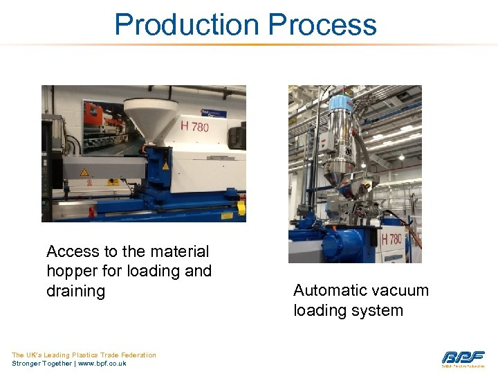 Production Process Access to the material hopper for loading and draining The UK's Leading