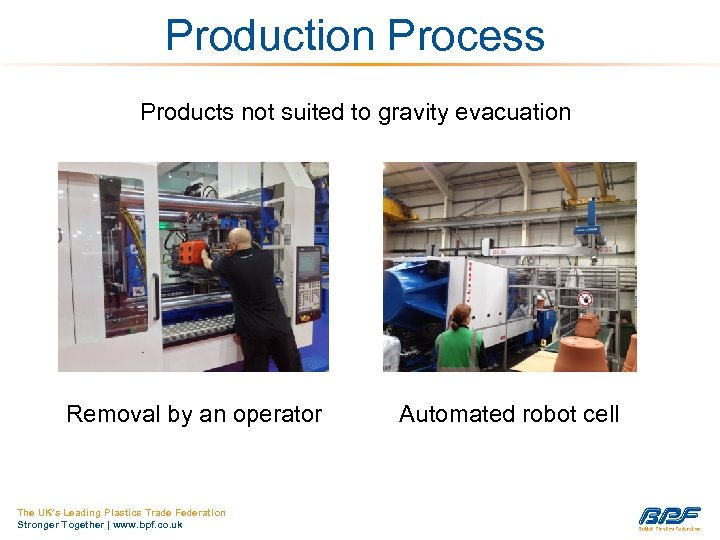 Production Process Products not suited to gravity evacuation Removal by an operator The UK's