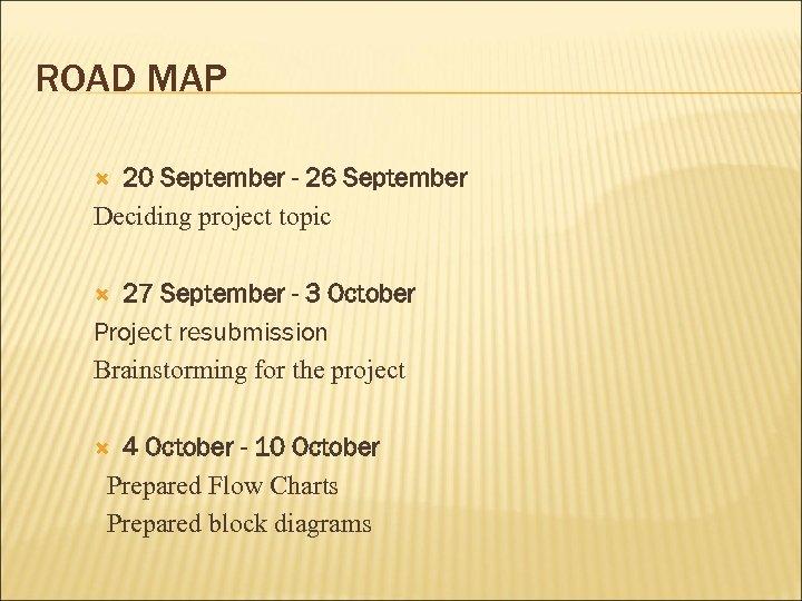 ROAD MAP 20 September - 26 September Deciding project topic 27 September - 3