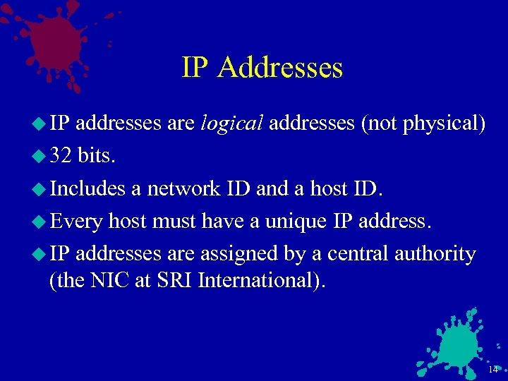 IP Addresses u IP addresses are logical addresses (not physical) u 32 bits. u