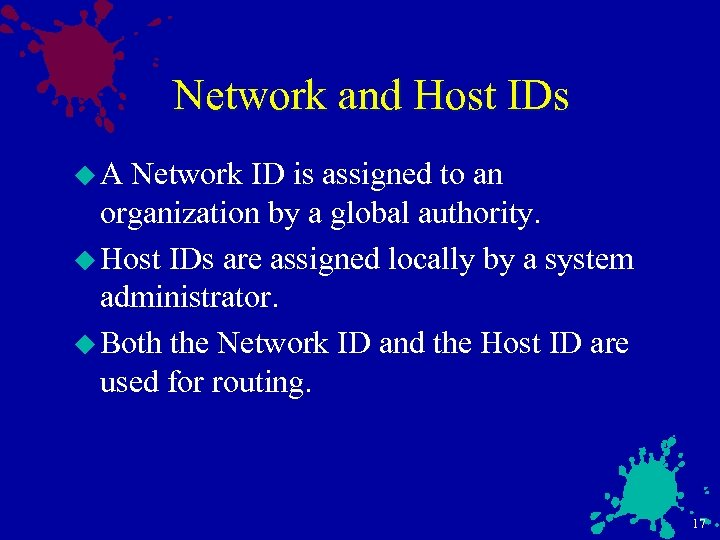 Network and Host IDs u. A Network ID is assigned to an organization by