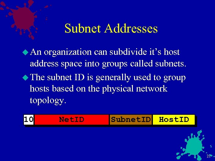 Subnet Addresses u An organization can subdivide it's host address space into groups called