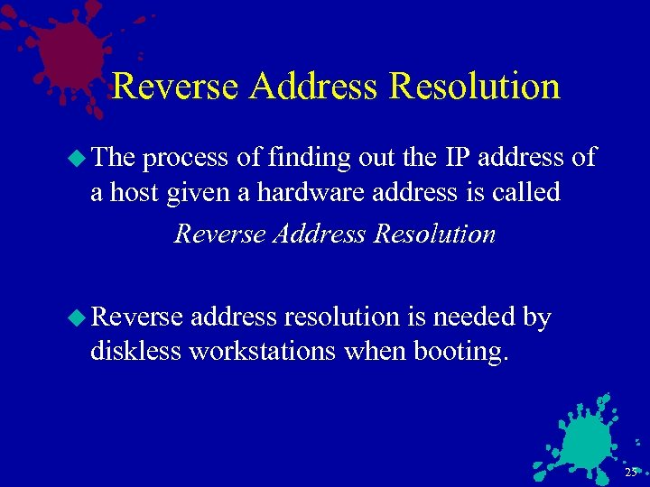 Reverse Address Resolution u The process of finding out the IP address of a