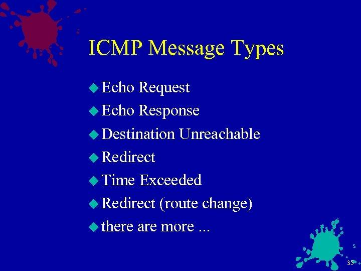 ICMP Message Types u Echo Request u Echo Response u Destination Unreachable u Redirect