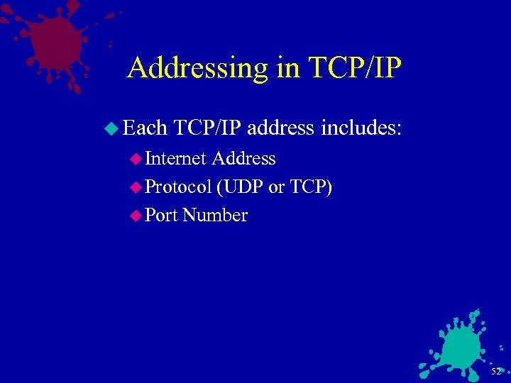 Addressing in TCP/IP u Each TCP/IP address includes: u Internet Address u Protocol (UDP