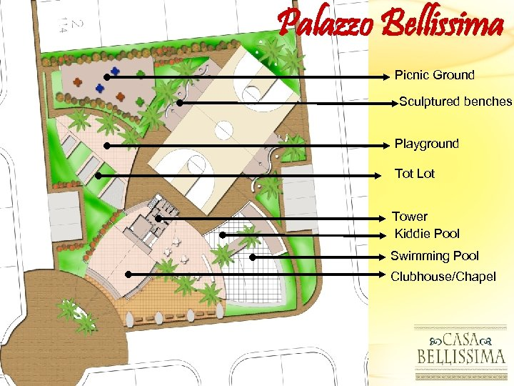 Palazzo Bellissima Picnic Ground Sculptured benches Playground Tot Lot Tower Kiddie Pool Swimming Pool