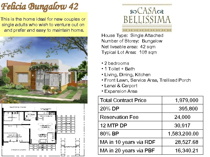 Felicia Bungalow 42 This is the home ideal for new couples or single adults