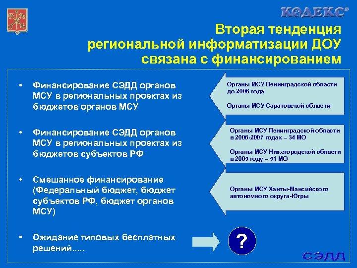 Вторая тенденция региональной информатизации ДОУ связана с финансированием • • Финансирование СЭДД органов МСУ