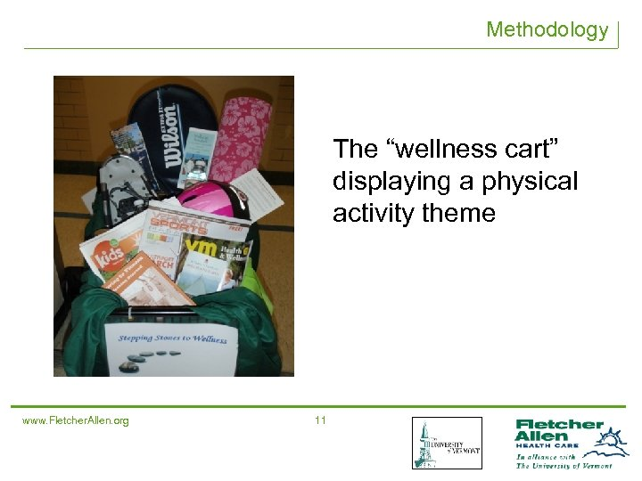 "Methodology The ""wellness cart"" displaying a physical activity theme www. Fletcher. Allen. org 11"