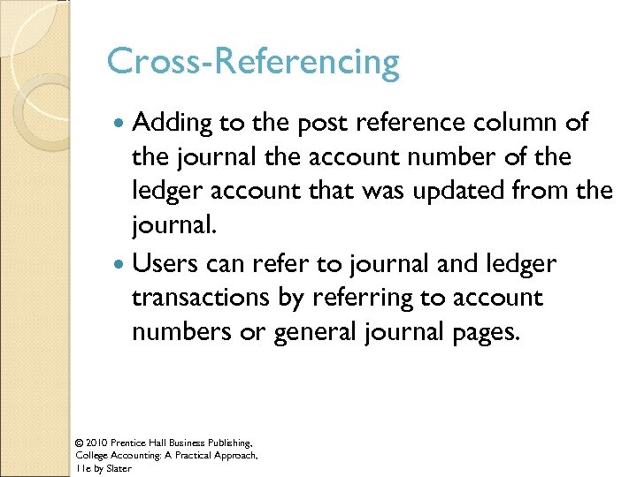 Cross-Referencing Adding to the post reference column of the journal the account number of