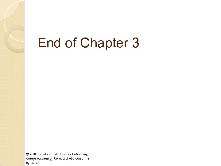 End of Chapter 3 © 2010 Prentice Hall Business Publishing, College Accounting: A Practical