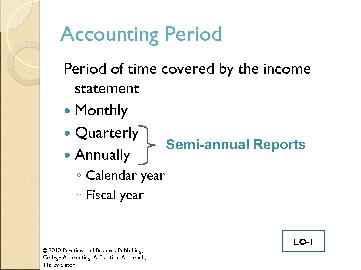 Accounting Period of time covered by the income statement Monthly Quarterly Semi-annual Reports Annually