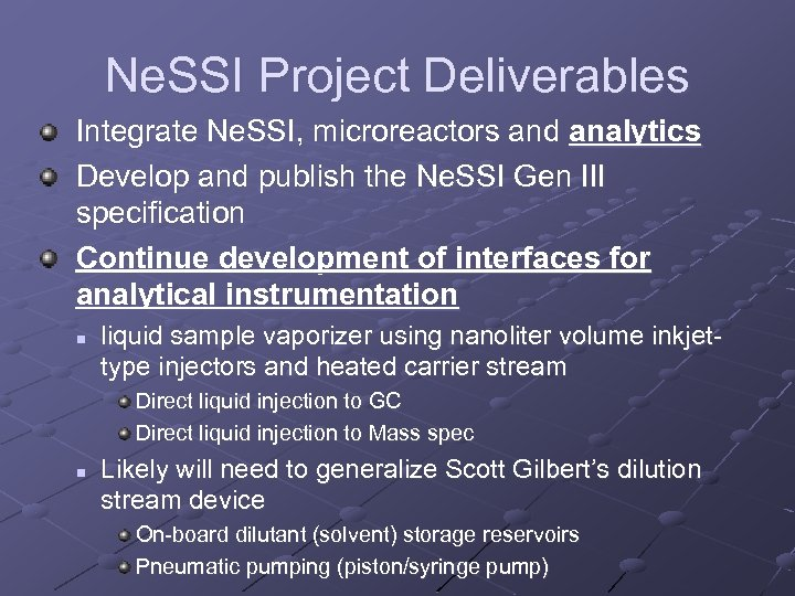 Ne. SSI Project Deliverables Integrate Ne. SSI, microreactors and analytics Develop and publish the
