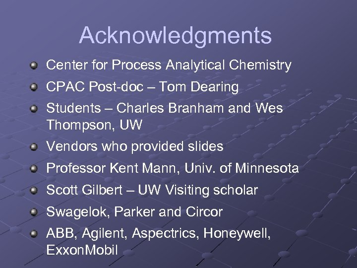 Acknowledgments Center for Process Analytical Chemistry CPAC Post-doc – Tom Dearing Students – Charles