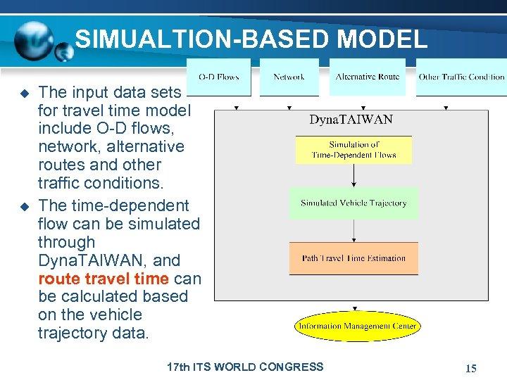 SIMUALTION-BASED MODEL u u The input data sets for travel time model include O-D