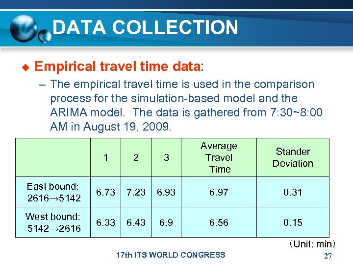 DATA COLLECTION u Empirical travel time data: – The empirical travel time is used