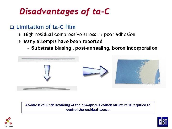 Disadvantages of ta-C q Limitation of ta-C film High residual compressive stress → poor