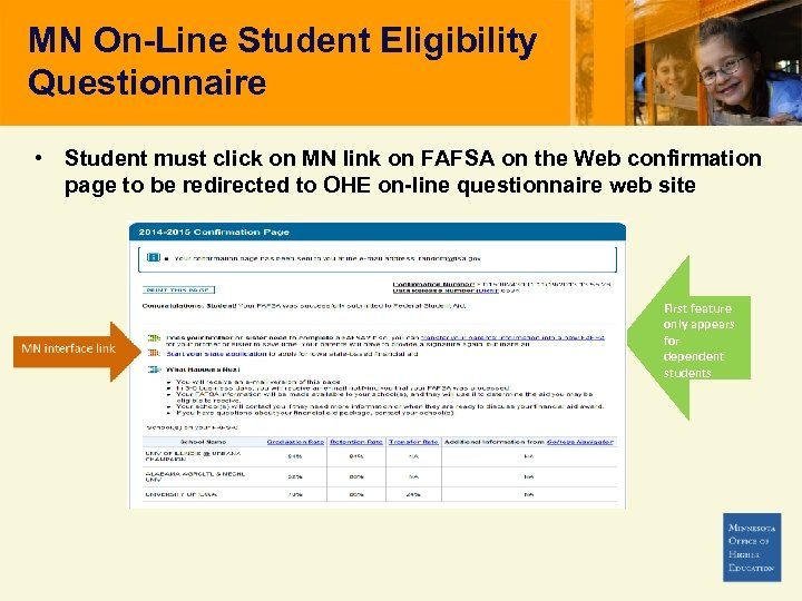 MN On-Line Student Eligibility Questionnaire • Student must click on MN link on FAFSA