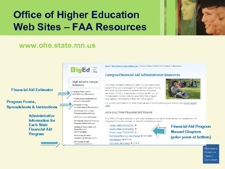 Office of Higher Education Web Sites – FAA Resources www. ohe. state. mn. us