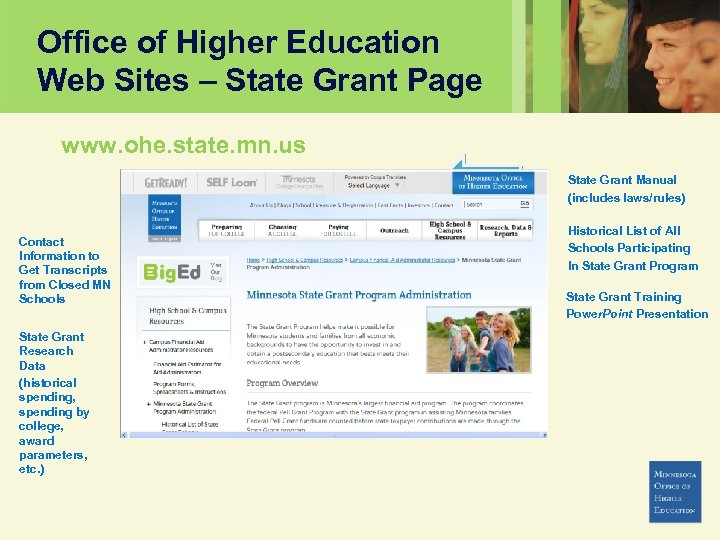 Office of Higher Education Web Sites – State Grant Page www. ohe. state. mn.