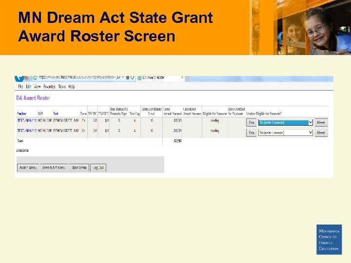 MN Dream Act State Grant Award Roster Screen