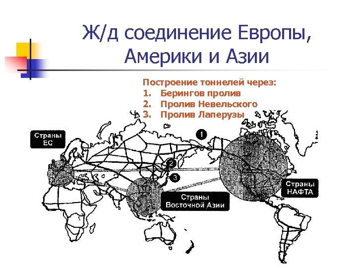 Ж/д соединение Европы, Америки и Азии Построение тоннелей через: 1. Берингов пролив 2. Пролив
