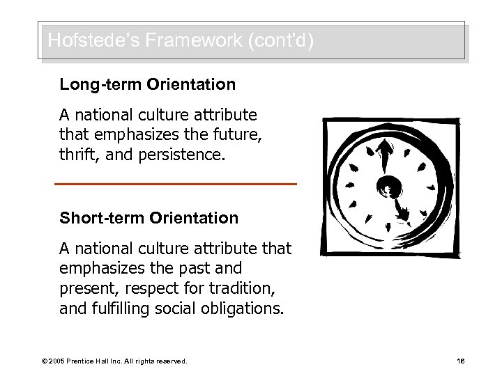 Hofstede's Framework (cont'd) Long-term Orientation A national culture attribute that emphasizes the future, thrift,