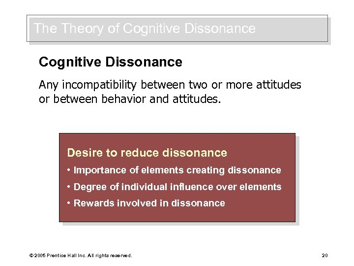 The Theory of Cognitive Dissonance Any incompatibility between two or more attitudes or between