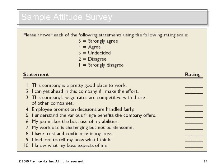 Sample Attitude Survey © 2005 Prentice Hall Inc. All rights reserved. 24