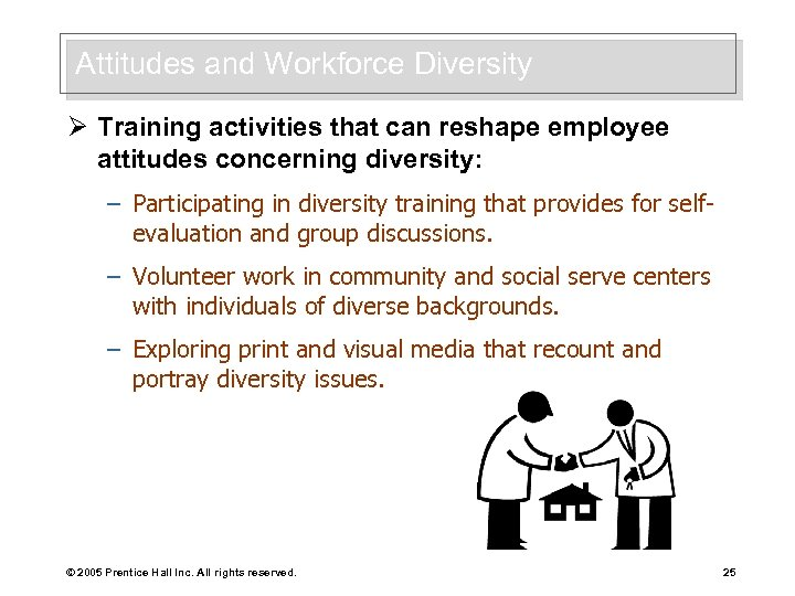 Attitudes and Workforce Diversity Ø Training activities that can reshape employee attitudes concerning diversity: