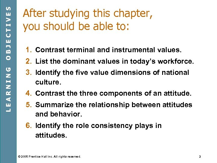 OBJECTIVES LEARNING After studying this chapter, you should be able to: 1. Contrast terminal
