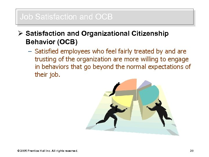 Job Satisfaction and OCB Ø Satisfaction and Organizational Citizenship Behavior (OCB) – Satisfied employees