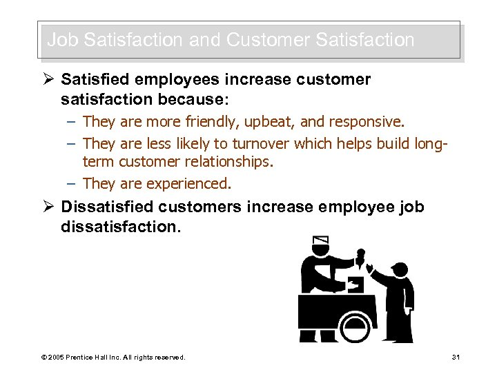 Job Satisfaction and Customer Satisfaction Ø Satisfied employees increase customer satisfaction because: – They