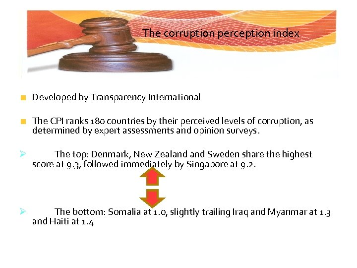 The corruption perception index Developed by Transparency International The CPI ranks 180 countries by
