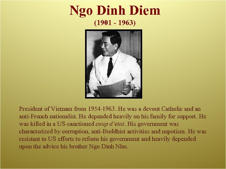 Ngo Dinh Diem (1901 - 1963) President of Vietnam from 1954 -1963. He was