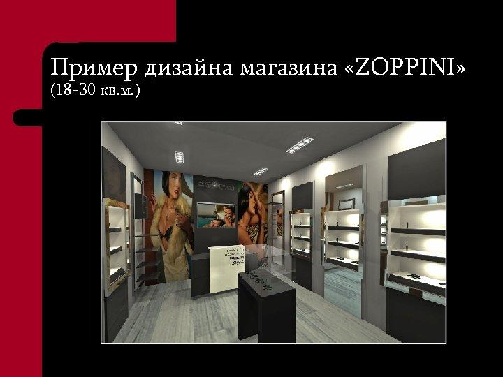 Пример дизайна магазина «ZOPPINI» (18 -30 кв. м. )