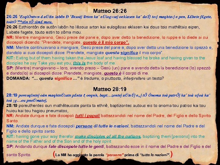 Matteo 26: 26 'EsqiÒntwn d aÙtîn labën Ð 'Ihsoàj ¥rton kaˆ eÙlog» saj oeklasen