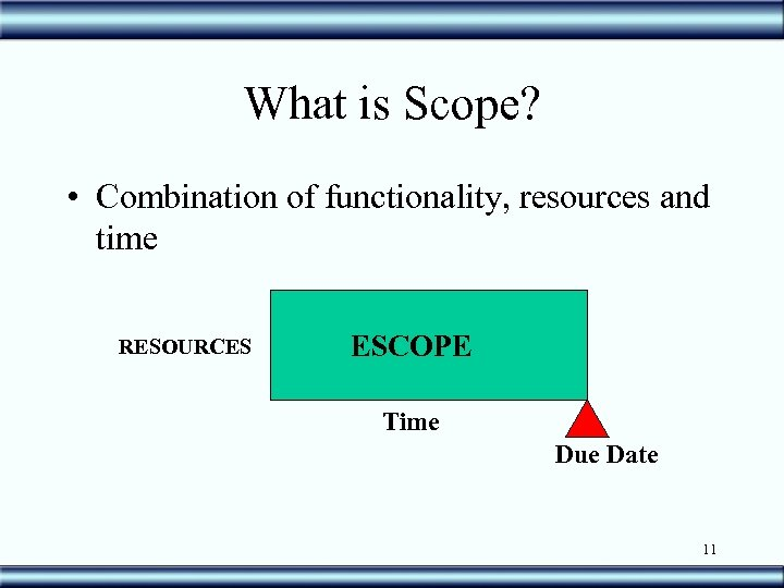 What is Scope? • Combination of functionality, resources and time RESOURCES ESCOPE Time Due
