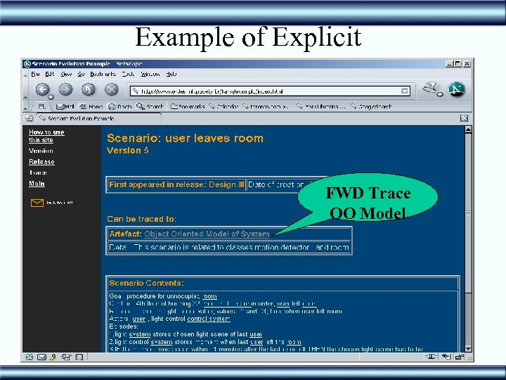Example of Explicit FWD Trace OO Model 41