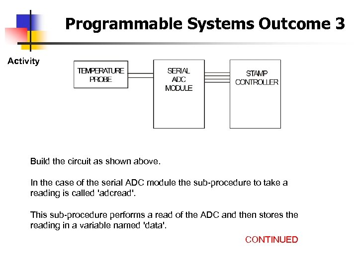 Programmable Systems Outcome 3 Activity Build the circuit as shown above. In the case