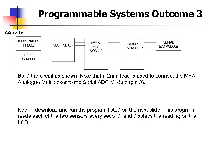 Programmable Systems Outcome 3 Activity Build the circuit as shown. Note that a 2