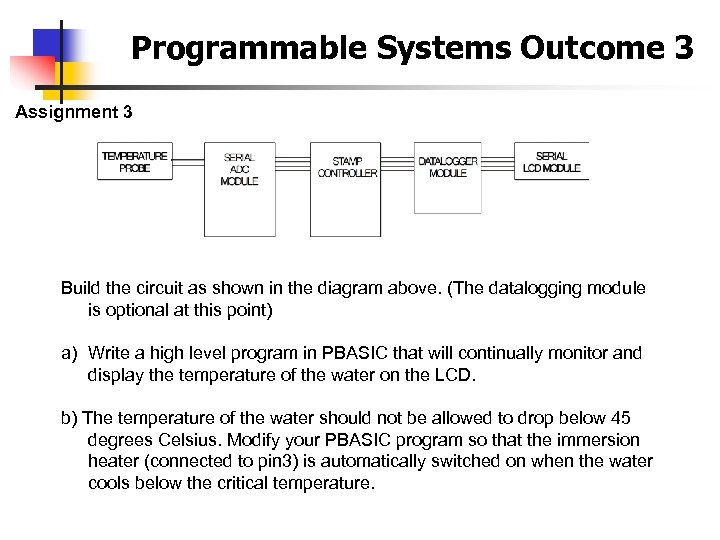 Programmable Systems Outcome 3 Assignment 3 Build the circuit as shown in the diagram
